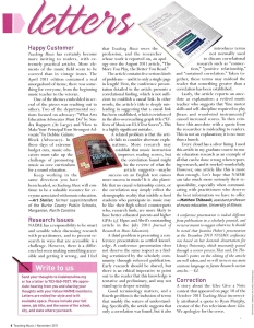 Letter to Teaching Music Nov 2011